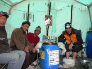 Marco Confortola al campo base dell'Everest sud