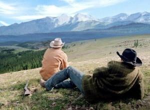 Una scena del film I segreti di Brokeback Mountain
