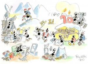 Buon compleanno Montagna.tv - La vignetta di Fabio Vettori