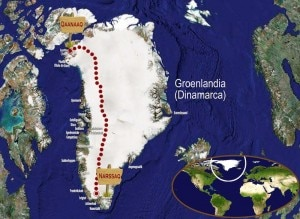 La via prevista per la travesata sud-nord della Groenlandia (Desnivel - Basque Team Desafioa)