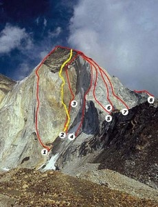 Bhagirati III west face - Impossible Star è la linea numero 1 (Photo courtesy www.climbandmore.com)