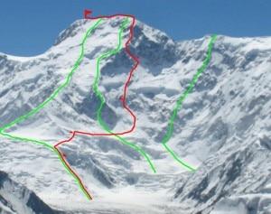 "Pobeda Peak: la linea rossa è ""Dollar stick"" (Photo russianclimbing.com)"