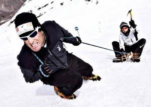Confortola e Simoncelli sulla neve (Photo Max Sport courtesy www.marcoconfortola.it)