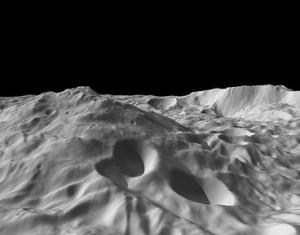 Ricostruzione del polo sud di 4 Vesta basata sulle foto della sonda Dawn (© Caltech/UCLA/MPS/DLR/IDA/NASA)
