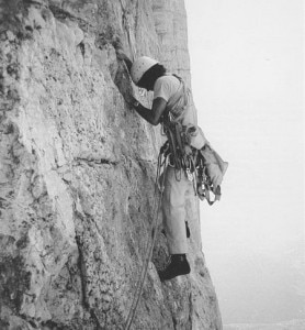 Messner Sass della Crusc 1968 (photo courtesy Alessandro Gogna, Sentieri verticali, Zanichelli)