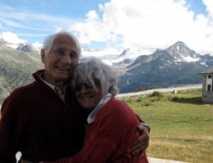 Walter Bonatti e Rossana Podestà a Courmayeur nell'estate 2010 (Photo Mirella Tenderini)