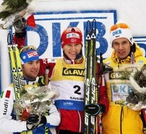 Il podio della combinata nordica (da sinistra a destra): Alessandro Pittin, secondo, Havard Klemetsen, primo e Tino Edelmann, terzo. (Olsen, Geir/AFP/Getty Images)
