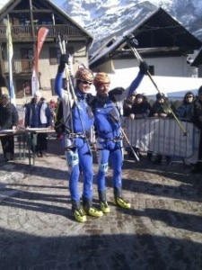 Holzknecht e Reichegger all'arrivo (Photo courtesy ISMF European Championship ski mountaineering)