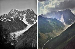 Il ghiacciaio Chaalati nel Caucaso georgiano fotografato a 121 anni di distanza (Photo 1890 Vittorio Sella - Fondazione Sella, 2011 Fabiano Ventura -  Arch. F. Ventura)