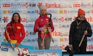 Angelika Rainer sul podio della Coppa del mondo di Iceclimbing