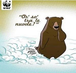 Uno dei fumetti presenti alla mostra Orsi tra le nuvole (Photo WWF)