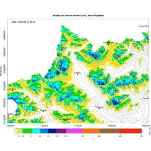 Un'esempio dell'altezza del manto nevoso della zona di Ampezzo ottenuta con SnowMaps (Photo courtesy of www.tis.bz.it)