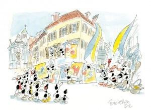 L'arte per l'Emilia - la vignetta di Fabio Vettori
