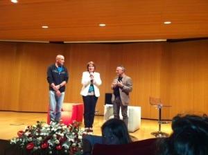 Mario Panzeri e Agostino Da Polenza sul palco della Casa dell'Economia con Laura Achler