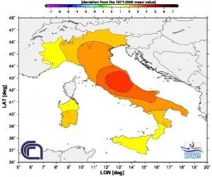 Anomalia estate 2012 in Italia (photo courtesy www.3bmeteo.com)