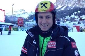 L'atleta Marcel Hirscher all'arrivo dello Slalom Gigante dell'Alta Badia (Photo courtesy of Marcel Hirscher fanpage)