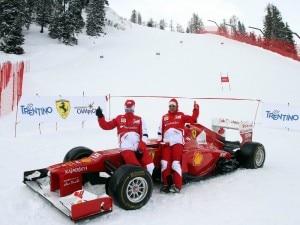Fernando Alonso, Felipe Massa e la Ferrari da Formula Uno F2012 sulle nevi di Madonna di Campiglio (Photo courtesy of Il Giornale di Vicenza.it)