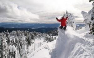Snowboarder tenta una discesa estrema (Photo courtesy www.wallpapersinc.net)