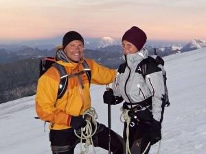 Natalia sugli sci con il padre Giorgio Mastrota (Photo courtesy laprovinciadisondrio.it)