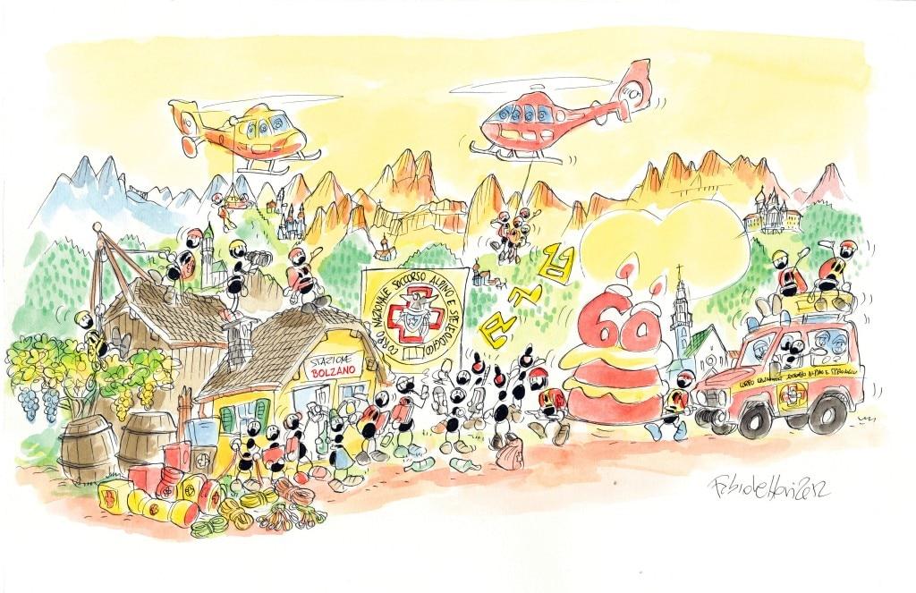 Vignetta di Fabio Vettori sui 60 anni del CNSAS Bolzano