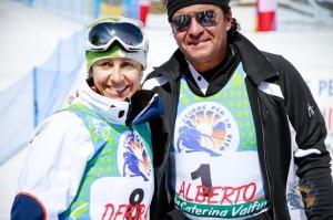 Deborah Compagnoni e Alberto Tomba durante la scorsa edizione di Scia con i Campioni (Photo courtesy of www.sciareperlavita.com)