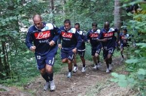 I giocatori del Napoli durante il ritiro in Val di Sole (Photo courtesy of carloalvino.it)