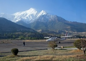 An airplane of Nepal Airlines readies to take off  from the Jomsom Airport. Photo: File photo/panoramio.com