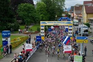 La partenza della corsa ciclistica Tour-Transalp a Sonthofen, in Germania (Photo courtesy of  www.tour-transalp.de)