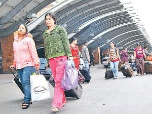 Outbound Nepalis at Tribhuvan International Airport. Photo: ekantipur