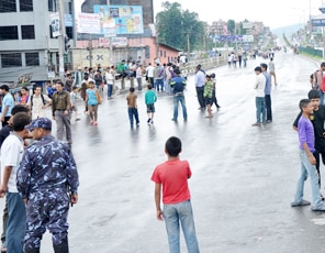 A view of valley bandh on Monday.