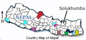 Nepal country map with Solukhumbu district. Photo: File photo