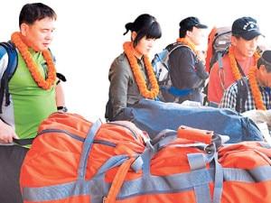 Chinese tourists upon arrival at TIA, Kathmandu. Photo: File photo