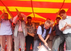 CPN-Maoist party secretary general Ram Bahadur Thapa (with hammer) along with other senior party leaders symbolically smashed the ballot box at the public function in Kathmandu. Photo: Nepal Mountain Focus