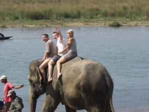 Tourists enjoying elephant safari in Bardiya National Park. (BNP)