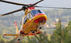 Elicottero del Suem in azione (Photo courtesy of www.ilgiornaledellaprotezionecivile.it)