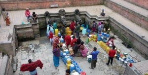Locals queue up up to fetch water from a spout in Kathmandu. Photo: File photo