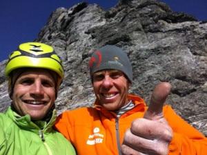 Eiger Nordwand Schaeli e Jasper in libera sulla Direttissima Ghilini Piola (Photo rogerschaeli.ch)