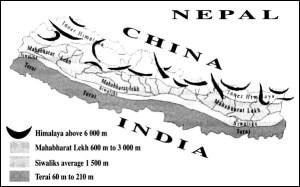 Nepal country map with Mahabharat range. Photo: phaparthum6.blogspot.com