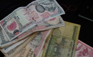 Nepali currency. The currency has gone down against US dollar recently. Photo: File photo