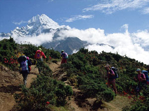 Tourists enjoying trekking in Nepal. Trekking is one of the major tourist attractions in Nepal. Photo: File photo