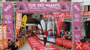 Iker Karrera all'arrivo del Tor des geants 2013 (Photo courtesy of Pagina Facebook ufficiale Tor des Geants)