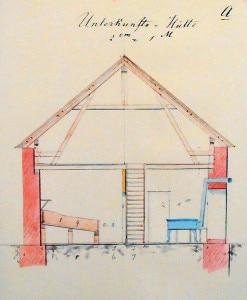 Progetto di un rifugio alpino (Photo Johann Stüdl/Ausstellung 150 Jahre Alpenverein courtesy of Wikimedia Commons)