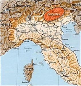 Map indicating Dolomites mountain range in Italy. Photo: File/internet