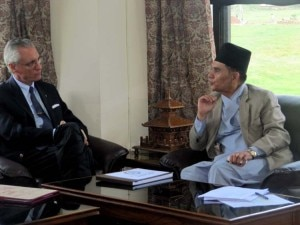 H.E. Daniele Mancini, Ambassador of Italy to Nepal and Prof. Dr. Surendra Raj Kafle, Vice Cancellor of NAST holding bilateral talks at NAST complex. Photo: NMF