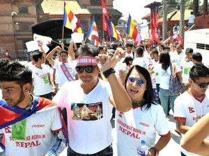 Participants of the rally organized in Kathmandu on Saturday, September 14, 2013 to protest false information about Buddha's birth place in Kathmandu.