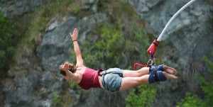 A foreign tourist enjoying bungee jumping in Nepal. Nepal is well known for adventure tourism like this. Photo: File photo