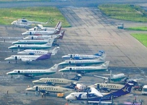 Airplanes of different domestic airline companies at TIA. Photo: File photo