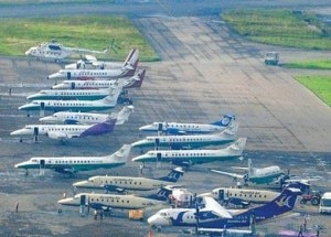 Aircrafts of different domestic airlines at TIA. Photo: File photo