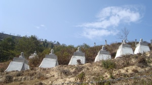 The monuments constructed in memory of dead in Ghunsa helicopter crash at Bhimdhunga of Ramkot VDC situated at some 12 kms North-east outskirts of capital Kathmandu. Photo: NMF