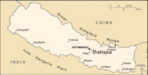 The country map of Nepal with Bhaktapur and Kathmandu districts among others.  Photo: File photo